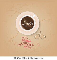 vintage valentines cup of coffee