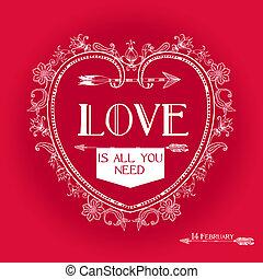 Vintage Valentine's Day Card Design - love, wedding - in vector