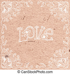 Vintage Valentine's Day card with a floral frame