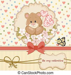 Vintage Valentines day card with teddy bear in love and ...