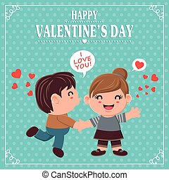 Vintage Valentines Day poster design with couple