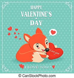 Vintage Valentines Day poster design with fox