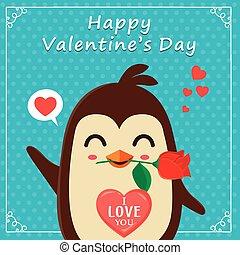 Vintage Valentines Day poster design with penguin