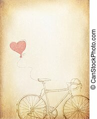 Vintage Valentines Illustration with Bicycle and Heart Baloon. Aged Vector Template