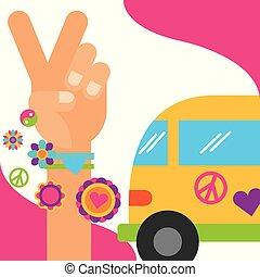 vintage van hand peace and love flowers hippie free spirit