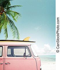 vintage van on beach
