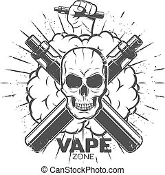 Vintage Vape Label - Vintage vape label with skull ...