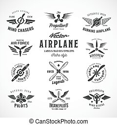 Vintage Vector Airplane Labels Set with Retro Typography....