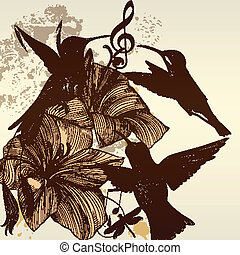 Vintage vector background with bird