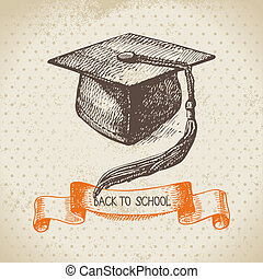 Vintage vector background with hand drawn back to school ...