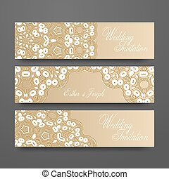 Vintage vector banners set decorated with white lace for wedding invitation or greeting card.