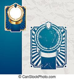 Vintage vector blue framed label