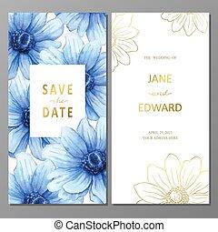 Vintage vector card, wedding invitation with anemones watercolor flowers.