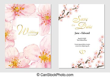 Vintage vector card, wedding invitation with cherry or sacura watercolor flowers.