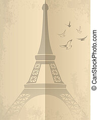 Vintage vector card with Eiffel Tower
