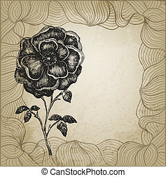 Vintage vector card with hand drawn dog rose and a place for Your text