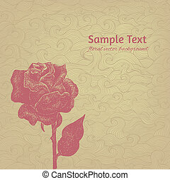 Vintage vector card with hand drawn rose