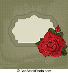 Vintage vector card with rose and frame. Card for invitation with