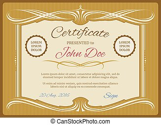 Vintage vector certificate template, retro diploma