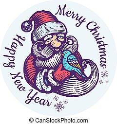 Santa Claus with bird.
