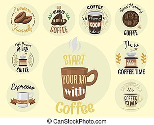 Vintage vector coffeeshop logo text labels and coffee drink...