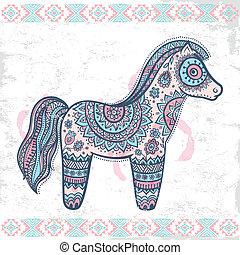 Vintage vector ethnic horse illustration