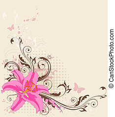 floral background with pink lily