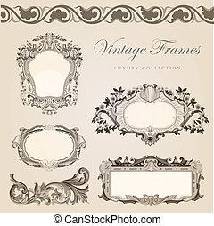 Vintage vector frames border. Retro wedding invitation template