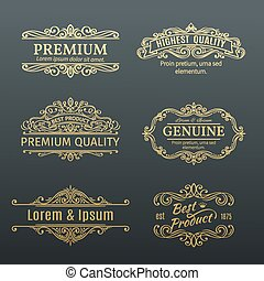 Vintage Vector Golden Banners Labels Frames Calligraphic Design Elements Decorative Swirls
