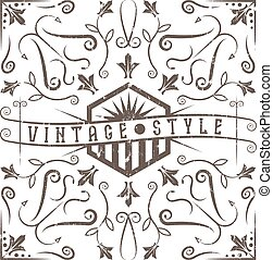 vintage vector grunge label with swirls and flowers elements