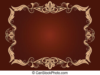 Vintage vector horizontal frame with purple background.