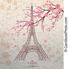 Vintage vector illustration of Eiffel tower on grunge...