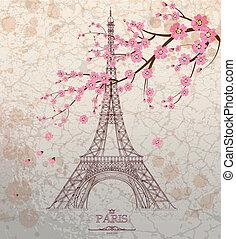 Vintage vector illustration of Eiffel tower on grunge ...