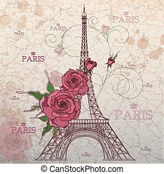 Vintage vector illustration of Eiffel tower on grunge ...
