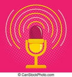 Microphone on pink halftone background