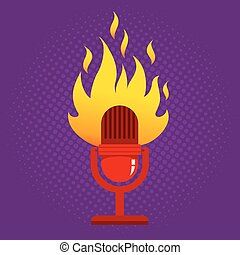 retro microphone in fire.