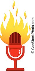 Red microphone with fire.