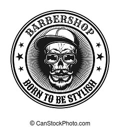 Vintage vector illustration of stylish hipster skull