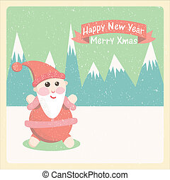 Vintage vector illustration santakl