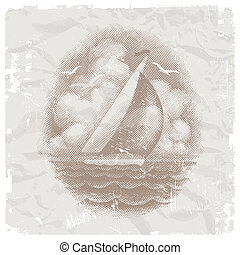 Vintage vector illustration with yacht in sea