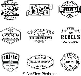 Nine high Quality vector Vintage Labels. Each label is organized in 2 layers with text separate from graphics, where possible, for a total of eighteen layers, each properly labeled.