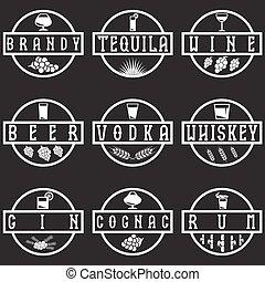 vintage vector labels set of alcohol drinks