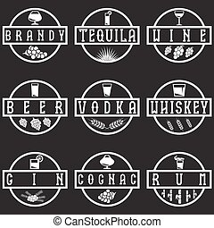 vintage vector labels set of alcohol drinks