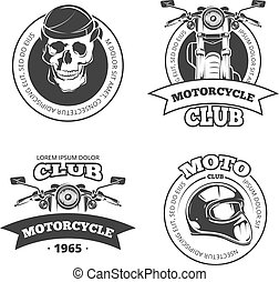 Vintage vector motorcycle or motorbike club emblems