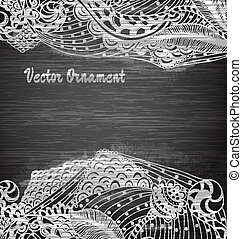 Vintage vector pattern.Chalk board. Hand drawn abstract background. Decorative retro banner.  Can be used for banner, invitation, wedding card,  scrapbooking and others. Royal vector design element.
