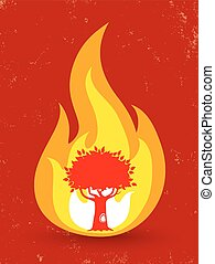 vector poster with tree in fire