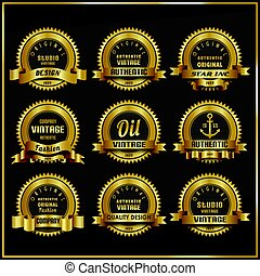 Vintage vector retro labels symbols set