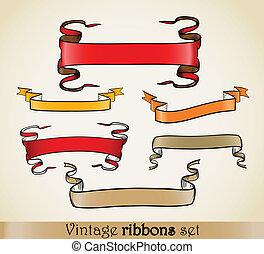 Vintage vector ribbons set