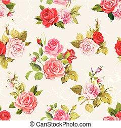 Vintage vector roses seamless pattern
