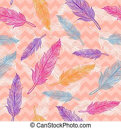 vector seamless colorful feathers pattern
